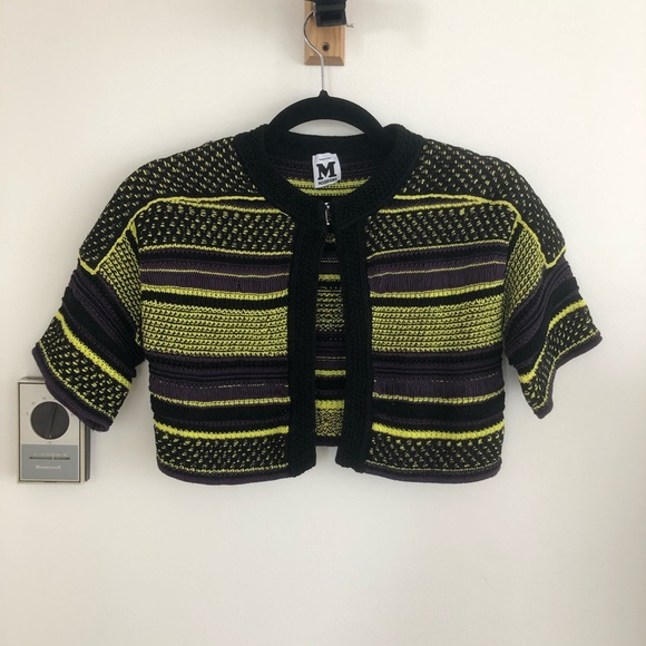 M MISSONI Striped Crew Neck Cardigan Sweater